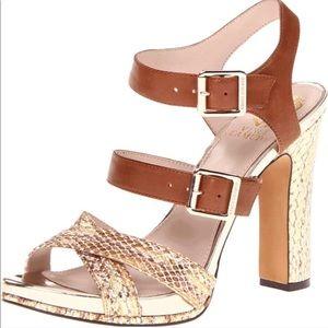Vince camuto platform snakeskin gold heels